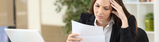 Businesswoman worried by low conversion rate
